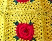 VINTAGE - HOMEMADE Red Rose Crochet Single Bed Blanket