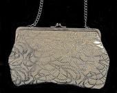 Silver lurex vintage evening clutch bag purse on silver chain
