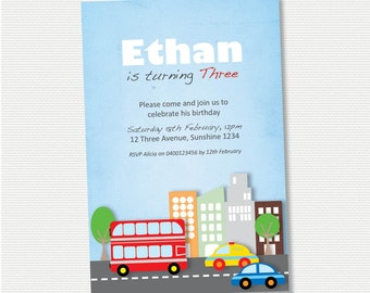 Transportation Birthday Invitation - DIY Printable