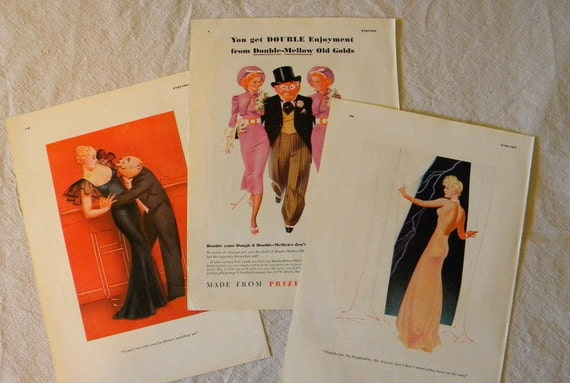 Three Petty Pin Up Girls Illustrations Femme Fatale 1934 1936