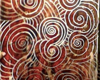 Swirls, red and sliver/white, 14 x 22, to be framed
