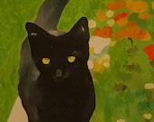 """Original  Black Cat Painting 16""""X 20"""""""