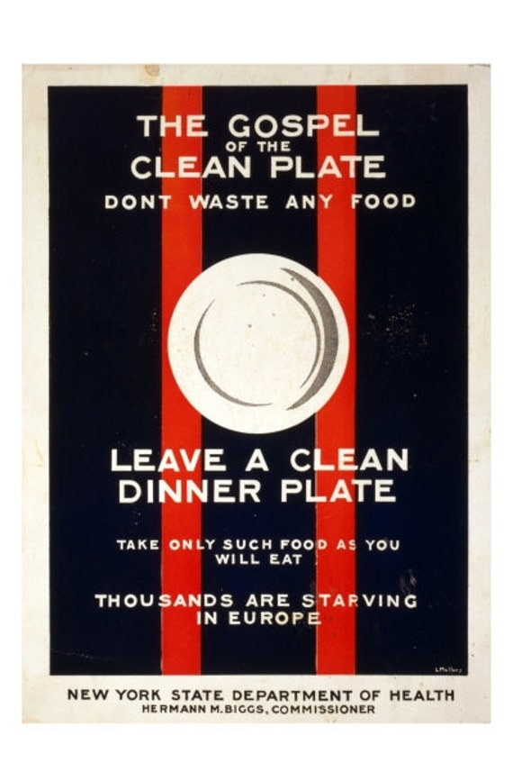 The Gospel of the Clean Plate - 10x15 Vintage WWI Poster Art - Professional Paper, Archival Ink, Shipped Flat, Fits Standard Size Frame