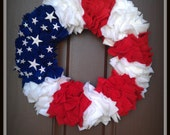 """16"""" Red White and Blue Flag Wreath"""