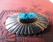 Vintage Sterling Silver Turquoise Brooch Pin