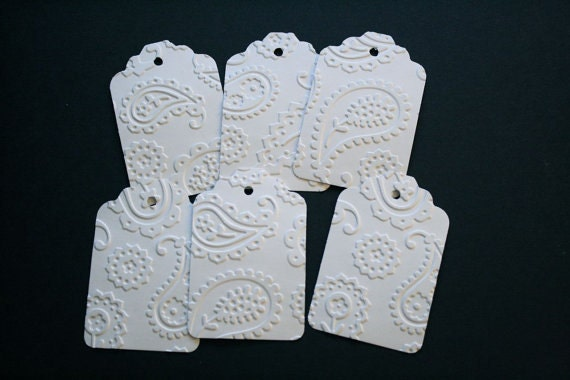 Set of 20 Hand Embossed Hand Punched White Paisley Tags