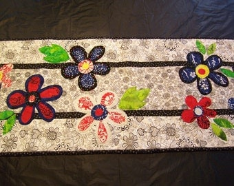 Fun Flowers on Black and White Table Runner