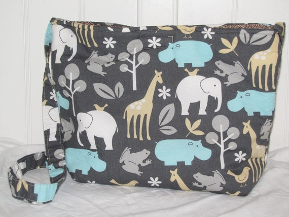 On the Go Travel Diaper Bag/Tote - Zoology Print