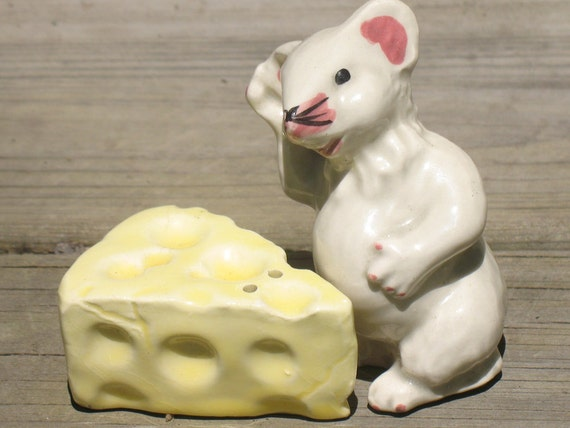 RESERVED FOR JULIE  5/1 Mouse and Cheese Salt and Pepper Shaker Set, Collectible