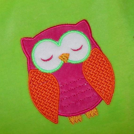Owl applique machine embroidery design no