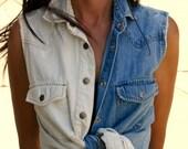 Ombre Denim Vest Shirt (Small)