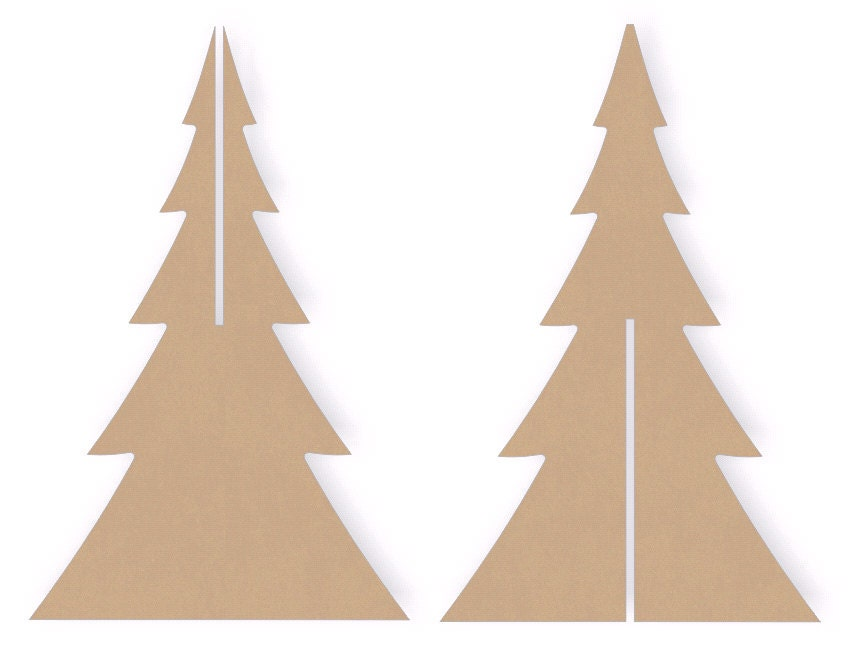 12 inch tall interlocking standing wooden christmas tree for Wooden christmas cutouts
