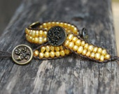 Wrapped Leather Bracelet with Golden Freshwater Pearls & Vintage Buttons - Yellow Gold Pearl, Boho, Stackable, Wrap, Beach