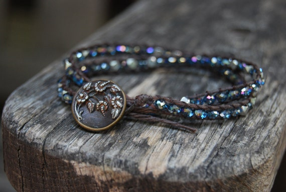 Wrapped Leather Bracelet with Vintage Button, Blue/Purple Crystals & Silver Beads - Starry Night