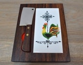 RESERVED- Portable Rosewood and Ceramic Rooster Cheese Board with Stainless Steel Cleaver Barlow Japan