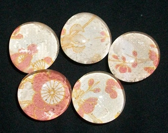 Small Red Cherry Blossom Glass Marble Magnets