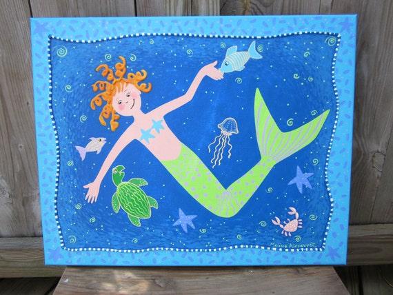 original, whimsical, mermaid painting with raised edge
