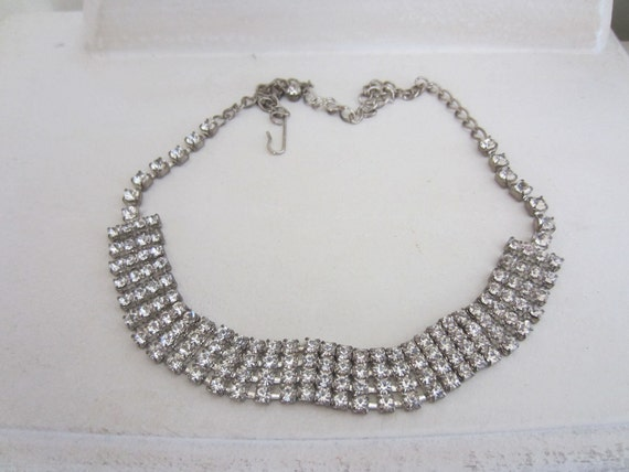 Retro Vintage 70's Necklace Rhinestone Choker Estate - Jewelry Holiday Party Wedding