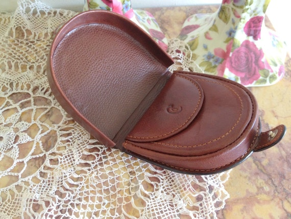 Vintage Men's Leather Coin Tray Wallet / Travel Pouch / Change Purse Cellini
