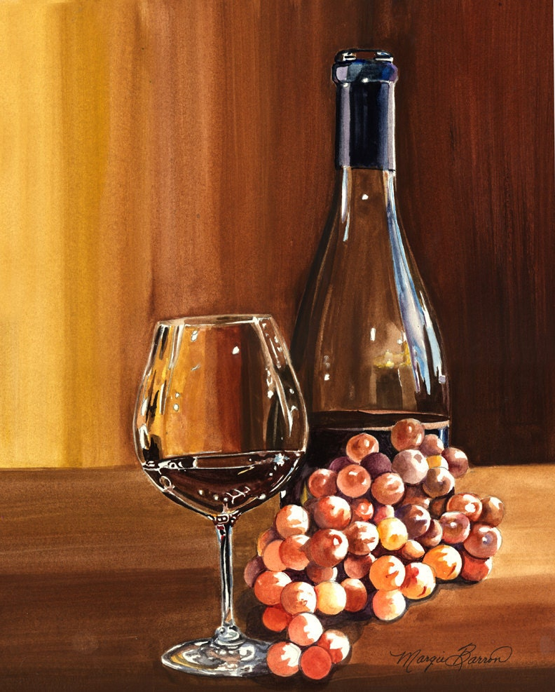 Original watercolor still life painting of wine bottle wine for Paint vino