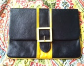 Vintage Navy Blue and Mustard Leather Clutch with Buckle