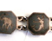 SALE-Vintage Deco Sterling Silver Niello Siam Panel Bracelet