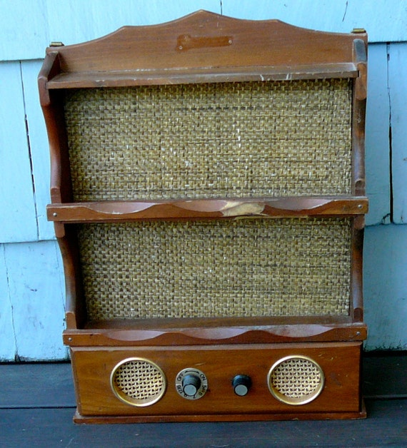 Vintage Radio Wood Shelf