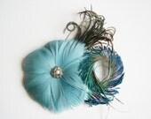 Bridal Headpiece - Teal Bridal Headpiece - Bridal Flower Headpiece - Bridal Feather Headpiece - Feather Flower Headpiece