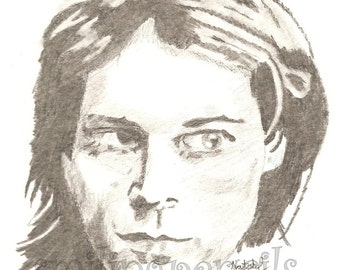 Kurt Cobain Nirvana Print of an Original Pencil Drawing