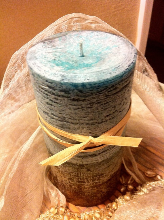 Paraffin Hand Poured Textured Rustic 3 x 6 Pillar Candle. Layered Aqua and Brown. Scent is Hazelnut and Chocolate. Aromatherapy.