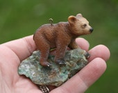 woodland brown bear and stone necklace