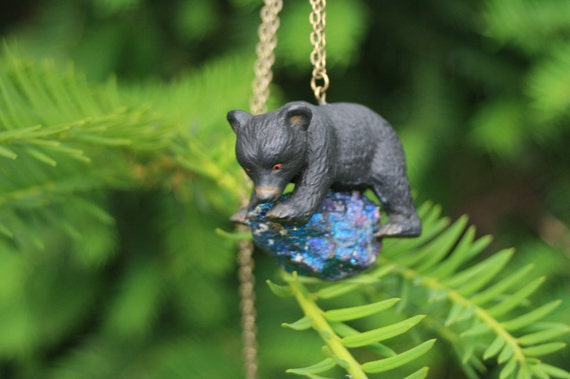 FREE SHIPPING in June, Galactic black bear and chalcopyrite stone necklace