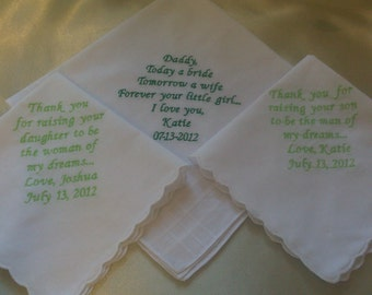 gift set of three wedding personalized handkerchiefs