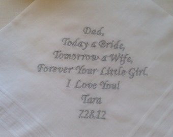 father of the  bride  personalized handkerchief