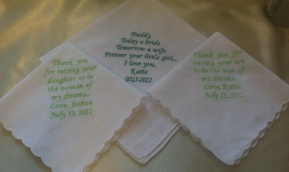 gift set of three wedding personalized handkerchiefs father of bride mother of bride mother of groom