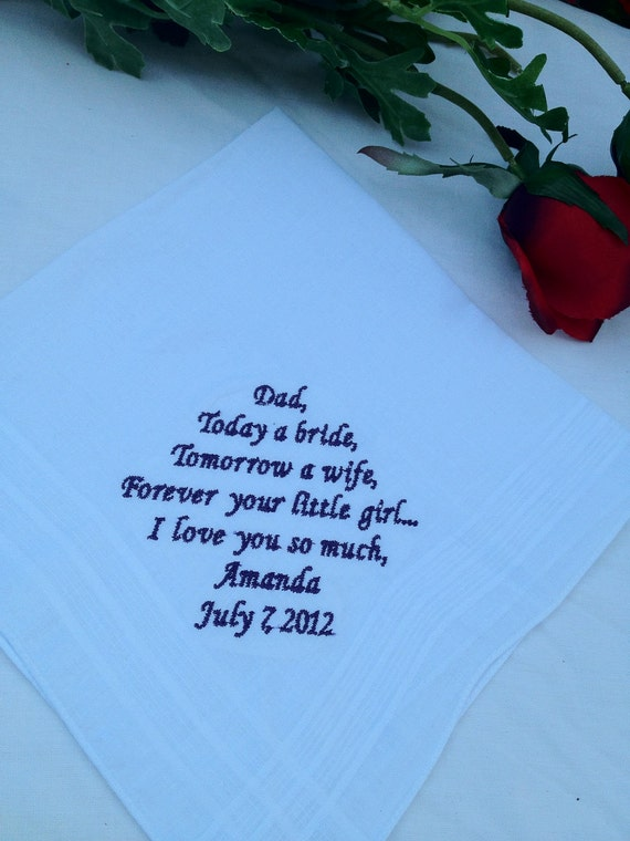 father of bride or groom personalized handkerchief