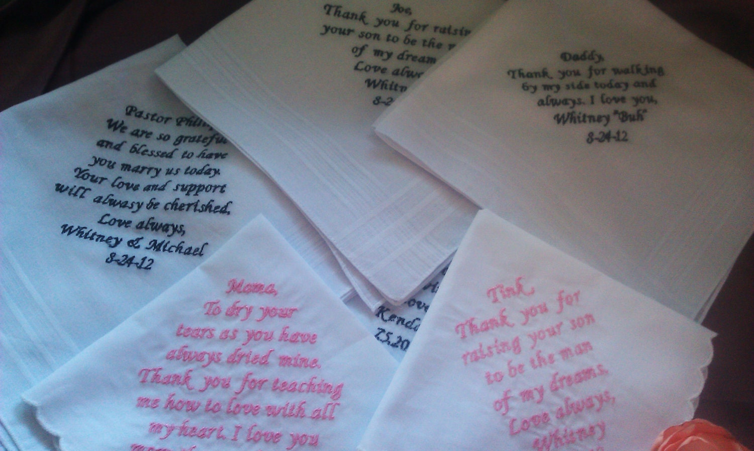 Set Of Five Wedding Personalized Handkerchiefs