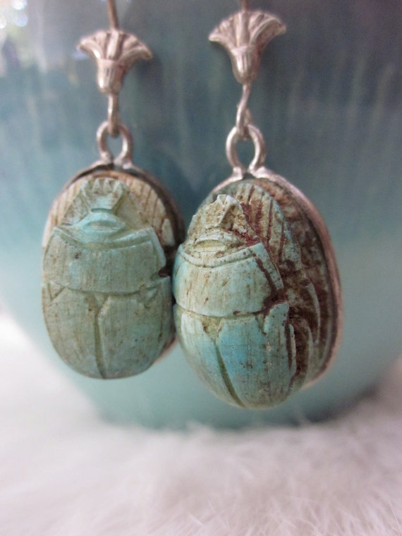 Vintage Sterling Silver Scarab Beetle Earrings Lotus wires with Egyptian Hieroglyphics
