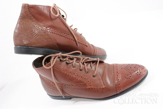 Brown Leather Vintage Oxford Lace Up Ankle Boots, size 6 1/2