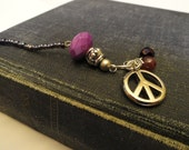 Purple Beaded Book Thong Style Bookmark with Peace Charm