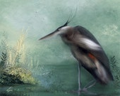 Great Heron - nautical green bird art print