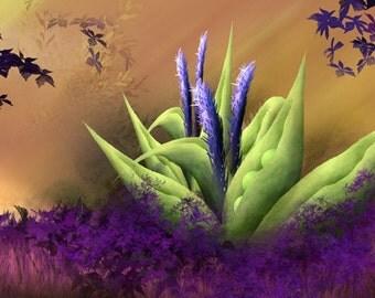 The Magic Bean - abstract purple green art print