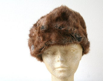 "Vintage fur hat in brown, rabbit fur hat, size 21.5"" (55cm), womens winter fashion, contemporary style"