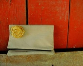 Canvas fold over clutch bag purse with mustard yellow rosette, made from upcycled  tea stained canvas zipper closure