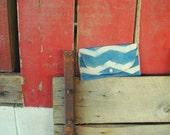 Blue Chevron Clutch Bag Purse Vintage Button Canvas & Cotton use as diaper clutch