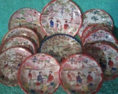 12 Unique Handprinted Vintage Asian Japanese Geisha Girl Plates