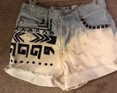 Studded 30 Inch Bleached High Waisted Denim Shorts