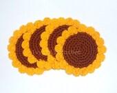 Set of 6 Sunflower Crochet Coasters - Finished Handmade Beverage Kitchen Home Decor Housewares Coasters or Potholders