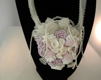 Beaded Necklace: Sassy Girl White, Pink, Mauve Choker  One-Of-A Kind with polymer clay handmade roses and delicate woven seed bead  leaves