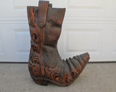 Chainsaw wood carving of a cowboy boot for your Country or Southwestern home